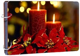 "Studio Shubham""Merry christmas and happy new year candles"" wooden photo album(26cmx16cmx4cm)"