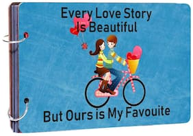 "Studio Shubham""Love Story Is Beautiful""   wooden photo album(26cmx16cmx4cm)"