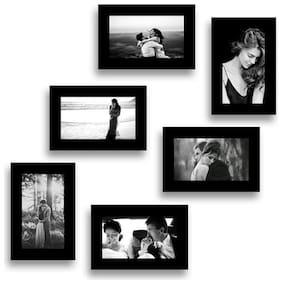 STUTHI ARTS Wood Black Collage picture frame ( Set of 6 )