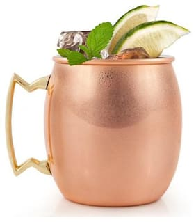 Style Homez Pure Copper Moscow Mule Mug Lacquer Coated, 500 ml Handmade Plain Design Joint Free & Leak Proof