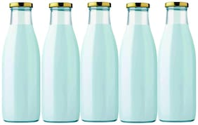 Style Homez Glass Transparent Water Bottle ( 1000 ml , Set of 5 )