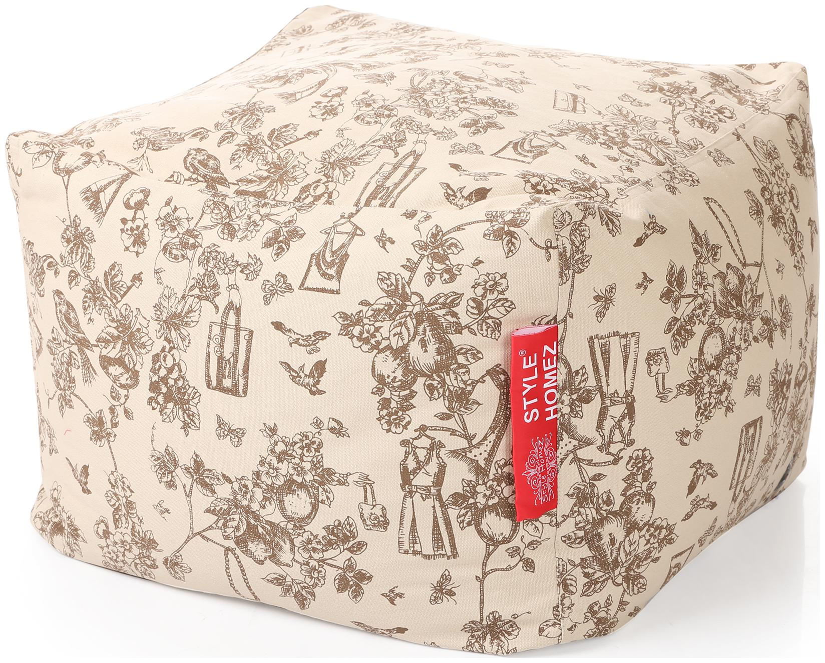 Style Homez Square Cotton Canvas Abstract Printed Bean Bag Ottoman Stool Large Cover Only by Style Homez
