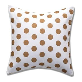 Style Homez Cotton Canvas Polka Dots Printed Cushion Small Size with Fillers