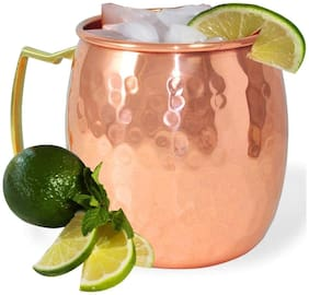 Style Homez Pure Copper Moscow Mule Mug Lacquer Coated, 500 ml Handmade Hammered Design Joint Free & Leak Proof