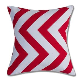 Style Homez Cotton Canvas Stripes Printed Cushion Small Size with Fillers