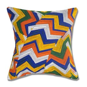 Style Homez Cotton Canvas Geometric Printed Cushion Small Size with Fillers