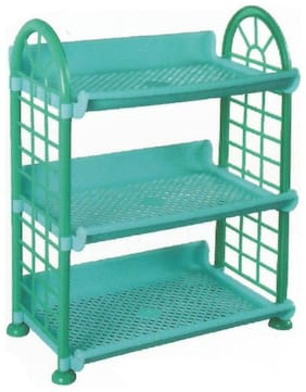 Stylewell 3 Compartments Foldable Beautiful Multipurpose Rack Plastic Wall Shelf  (Number of Shelves - 3)