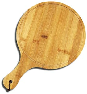 Stylewell (38x26cm Size) Handmade Natural Wooden Bamboo Fruit & Vegetable Round Chopping Cutting Board Pizza Plate Food Paddle Serving Tray With Handle Grip For Home & Kitchen Cutlery Accessories