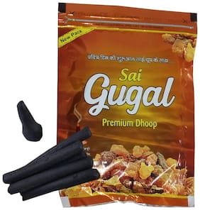 Stylewell Premium (Set Of 1 Pkt) Charcoal/Pollution Free Fresh Sai Gugal/Guggal Fragrance (100 Grams 20 Sticks In Pkt) Incense Dhoop Cone/Batti For Spiritual Purpose Worship/Puja And Mediation