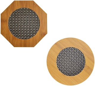 Stylewell (Set Of 2) Round & Hexagon Shape Heating Insulation/Resistant Natural Bamboo Wooden Coaster Heat Table Ware Pad Placemat For Hot Coffee/Bowl & Tea Cup/Home & Kitchen Dining Pan Pot Holder