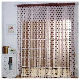 STYLEWELL Net & Polyester Window Transparent Brown String Curtain ( Rod Pocket Closure , Printed )