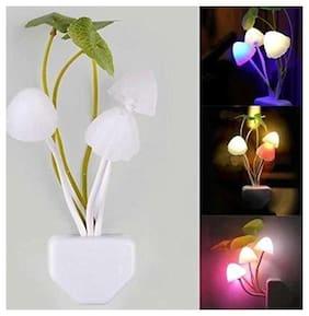 Stylish LED Night Light Color Changing Flower Mushroom Flower Plug in Sensor Home Wall Lamp (1Pc) White