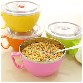 Stylish Noodles Bowl With Handle Lid Enclosed Large Stainless Steel Cutlery Rice Soup Cup Microwave Safe & BPA Free
