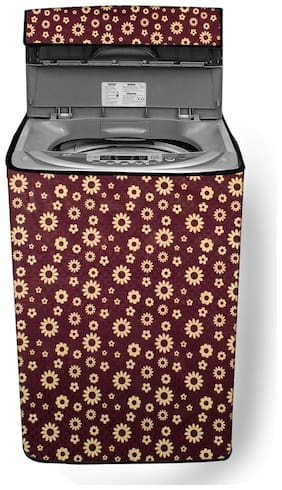 Stylista Washing Machine Cover Compatible for LG 6.5 kg Inverter Fully-Automatic Top Loading T7569NDDLH.ASFPEIL Floral Pattern Coffee