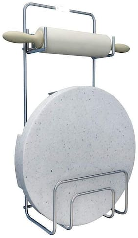 STYLS  Steel Stand for Rolling Board and Pin Holder, Silver