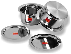 Sumeet 2 pcs Stainless Steel Induction Bottom (Encapsulated Bottom) Container Set / Tope / Cookware Set With Lids Size No.13 & No.14 (2.3 L & 2.8 L)
