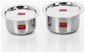 Sumeet 3.2 L With Lid Tope Induction Bottom ( Stainless Steel , Set of 4 )