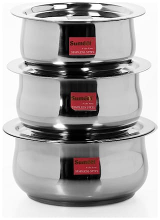 Sumeet 8 L With Lid Tope Induction Bottom ( Stainless Steel , Set of 6 )