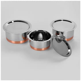 Sumeet 3 pcs Stainless Steel Copper Bottom Cookware/ Container / TopeSet With Lids Size 12 To 14