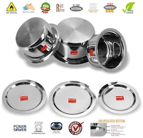 Sumeet 3 pcs Stainless Steel Induction Bottom (Encapsulated Bottom) Container Set / Tope / Cookware Set With Lids Size No.12 to No.14 (1.7 L to 2.8 L)
