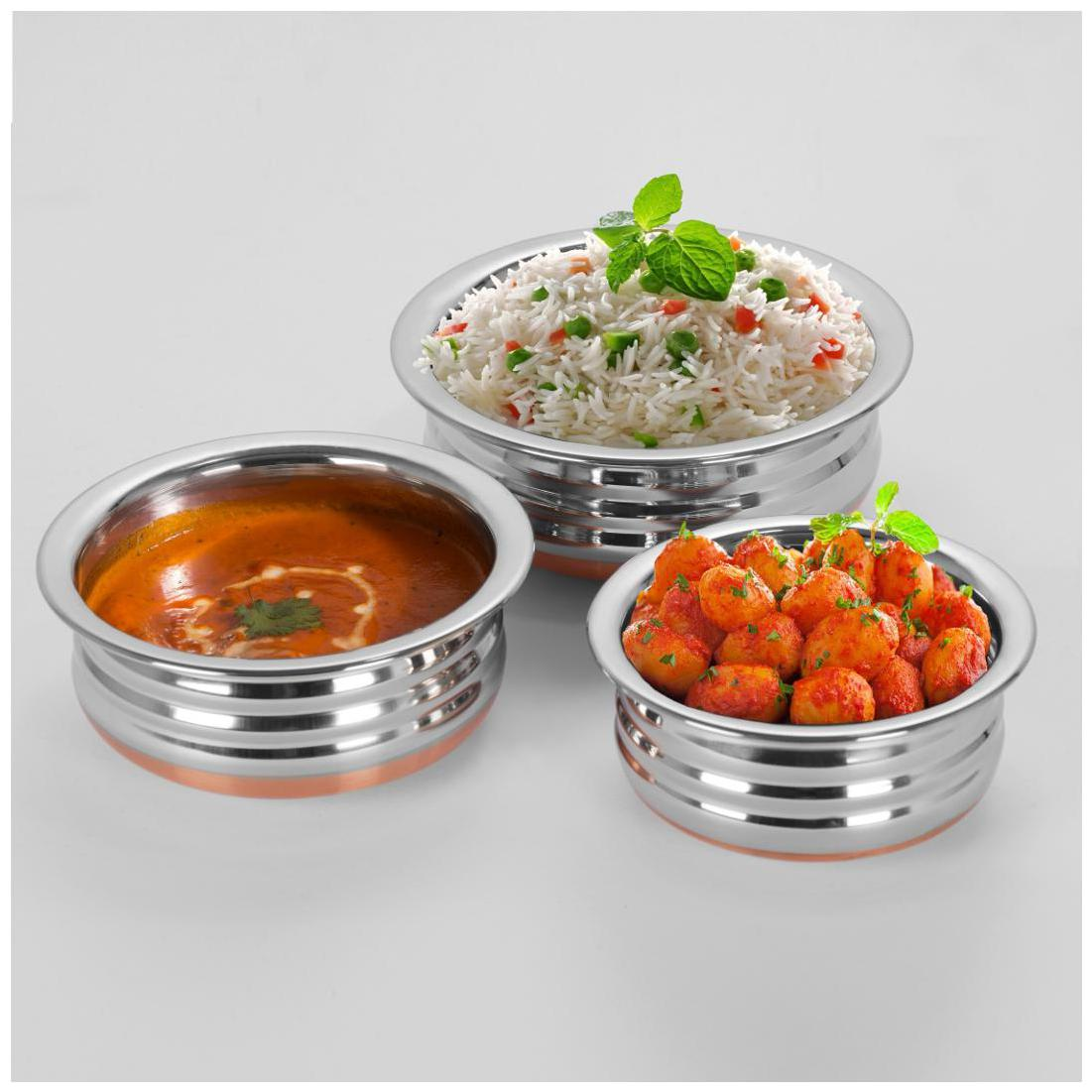 Sumeet 3Pc Set of Stainless Steel Copper URLI / Cookware / Serveware...