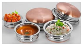 Sumeet 3Pc Set of Stainless Steel Copper URLI / Cookware / Serveware / Handi / POT / Cook & Serve - Size 1 to 5