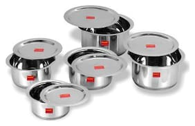 Sumeet 5 pcs Stainless Steel Induction Bottom (Encapsulated Bottom) Container Set / Tope / Cookware Set With Lids Size No.10 to No.14 (1 L to 2.8L)