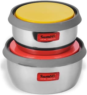 Sumeet 900 ml Silver Stainless steel Container Set - Set of 2
