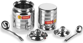Sumeet 850 ml Silver Stainless steel Container Set - Set of 6