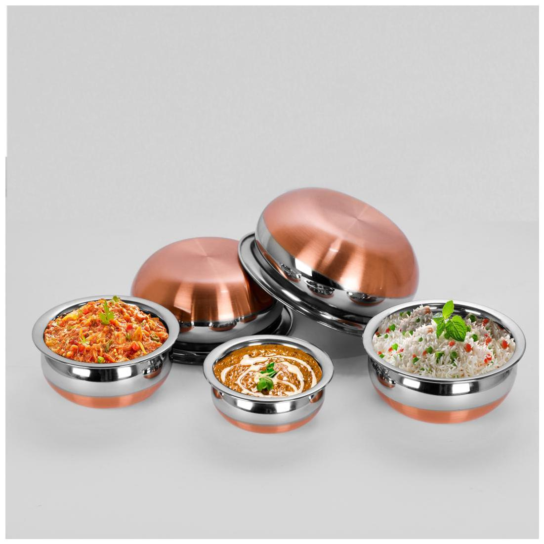 Sumeet 5Pc Set of Stainless Steel Copper Bottom Prabhu Chetty / Cookware...