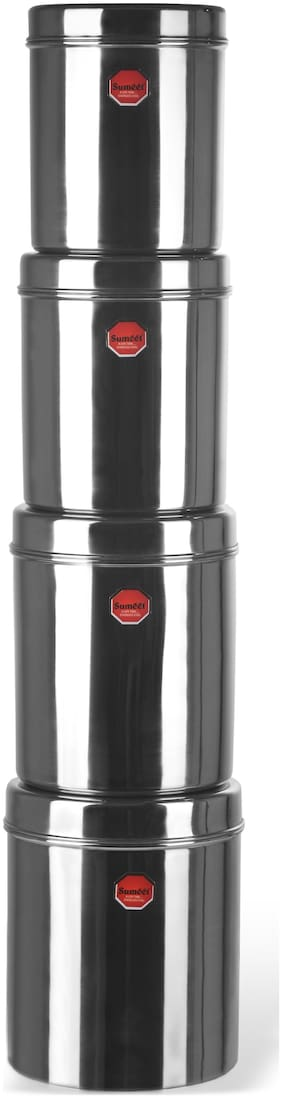 Sumeet 6500 ml Silver Stainless steel Container Set - Set of 8