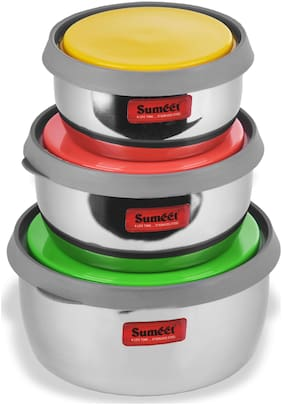 Sumeet 1700 ml Silver Stainless steel Container Set - Set of 6