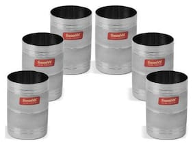 Sumeet Designer 3D Stainless Steel Glass set of 6Pcs (300 ml Each)