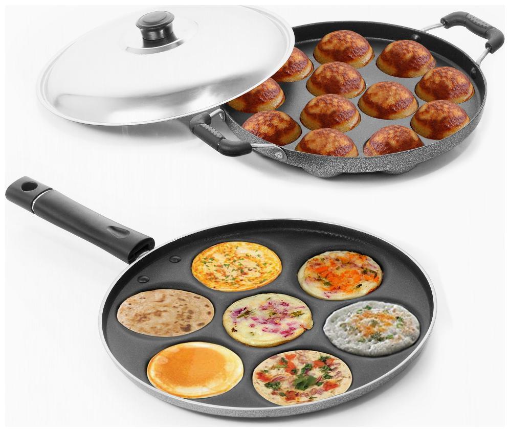 Sumeet Non Stick Delight Combo Set  Multi Snack Maker   7 pcs + Grill Appam Patra   12 pcs