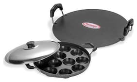 Sumeet Non Stick Insta Combo Set (Saral Tawa 30.5cm Dia + Grill Designer Appam Patra With S.S. Lid -7pcs)