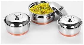 Sumeet Stainless Steel Copper Bottom Multipurpose Cook & Serve Handi With Lid - 3 pcs Set