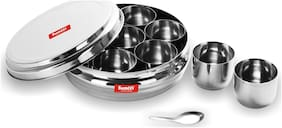 Sumeet Stainless Steel Ring Shape Masala (Spice) Box/Dabba/ Organiser With 7 Containers And Small Spoon Size No. 11 (1.5 Ltr Capacity)