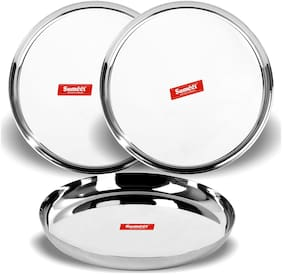 Sumeet Stainless Steel Apple Shape Heavy Gauge Dinner Plates with Mirror Finish 27cm Dia - Set of 3pc