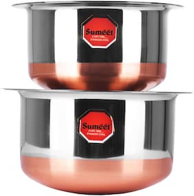 Sumeet Stainless Steel Copper Bottom Cookware/ Container / Tope Set Of 2 pcs With Lids (No. 10 - 1 L;No. 11 - 1.4 L )