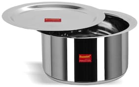 Sumeet Stainless Steel Induction Bottom (Encapsulated Bottom) Container / Tope / Cookware With Lid Size No.14 (2.8 Ltr)