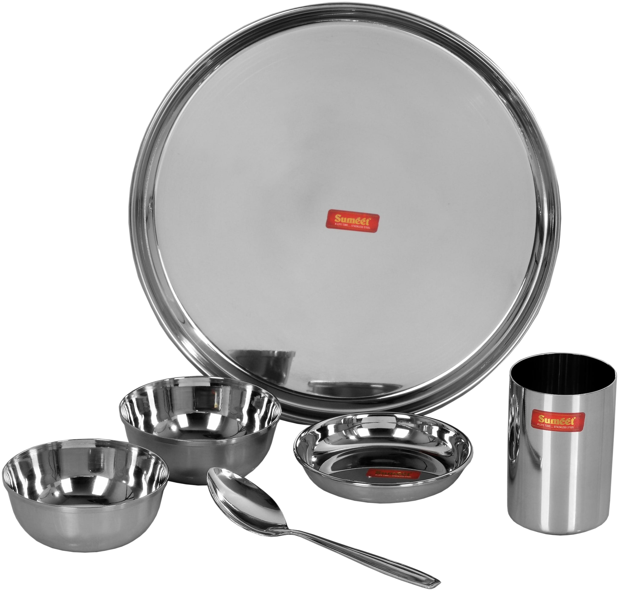 Sumeet Stainless steel Dinner Sets   Set of 6 , Silver