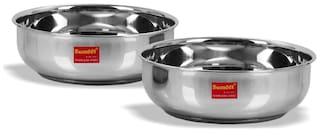 Sumeet Stainless Steel Induction Bottom (Encapsulated Bottom) Tasra Set of 2 Size No.11 (1.5 L) & Size No. 12 (1.9 L)