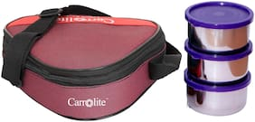 Carrolite Maroon 3 Containers Lunch box ( Set of 1 , 700 ml )