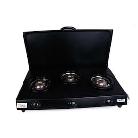 SUN FLASH 3 Burner Automatic Regular Black Gas Stove ,