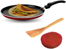 Sunblaze Aluminium Non-Stick Cookware Induction Base Multipurpose Flat Dosa, Paratha, Chapati and Roti Tawa Red 30 cm (Free 1 Sponge and 1 Spatula) ISI Approved with 1 Year Warranty