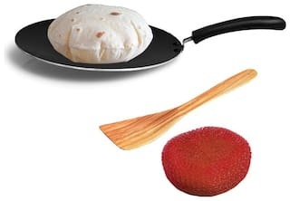 Sunblaze Cookware Multipurpose Dosa,Paratha,Chapati and Roti Concave Tawa 300 mm With 1 Sponge and 1 Spatula