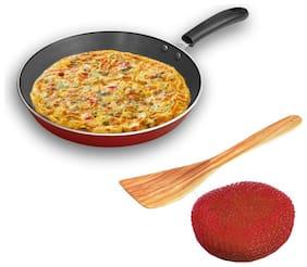 Sunblaze Induction Base Non-Stick Aluminium Cookware Fry Pan/Frying Pan/Pasta Pan Red 22 cm (1 Sponge and 1 Spatula)