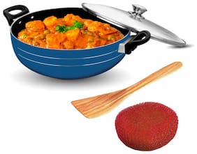 Sunblaze Long Lasting Induction Base Non-Stick Kadhai/Cookware with Stainless Steel Lid Blue 24 cm