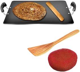 Sunblaze Non-Stick Cookware Multipurpose Dosa Roti Chapati Pathri Tawa Rectangle Black (380  340) mm Aluminium Body (Free 1 Sponge and 1 Spatula) ISI Approved