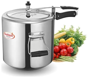 Sunblaze Secura Non Induction Base Anti-Bulging Fuel Efficient Base Best Aluminium Heavy Pressure Cooker with Inner Lid Big Size Silver 22 L
